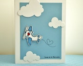 Valentine Card, Love Is In The Air Valentine Card, Airplane Valentine Card, Cute Valentine Card - ThePaperMenagerie