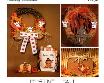 Festive Fall Haunted House Ghosts Jack-O-Lanterns Witch Cornucopia Horn of Plenty Counted Cross Stitch Embroidery Craft Pattern Leaflet 30