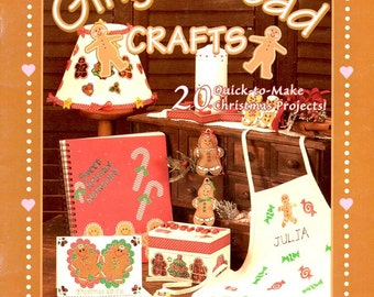 Gingerbread Projects Paper Paint Wood Plaster Fabric Apron Ornaments Cards Lamp Shade Recipe Box Christmas Holiday Crafts Pattern Leaflet