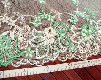 Lace trim, Embroidered lace, Embroidered trim, Embroidered tulle, Green lace, net lace,  2 yards GN025