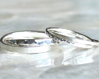 His and Hers Double Rolling Ring of Hammer Faceted Sterling Silver - Wedding or Promise Rings - Eco Friendly Recycled Silver