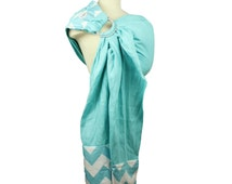 Linen Ring Sling Baby Carrier Baby Sling - Blue Chevron - Instructional DVD Included - Wide Pleated Shoulder for Comfort
