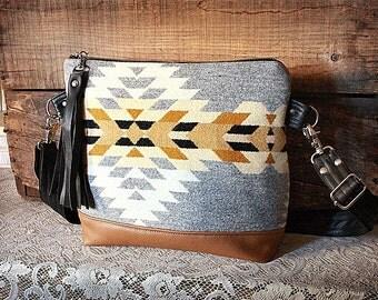 Oregon Fabric Purse / Handbag/ Messenger in wool & leather trim- Navajo look // --made to order--