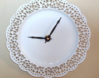 SILENT Small Lacy White Wall Clock - 7-1/2 Inches - Doily Clock - Porcelain Plate Clock - Unique Wall Clock - Minimalist Wall Decor - 2127