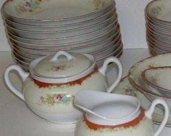 Vintage Garden China Japan Dinnerware Soup Dessert Bowls Cream and Sugar