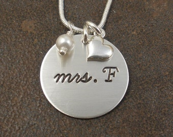 Wedding Charm Initial Necklace - Hand Stamped