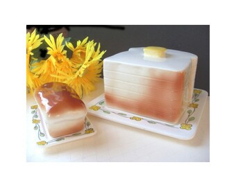 Canister Set - Ceramic Butter Dish And Bread Box - 1950s - JAPAN
