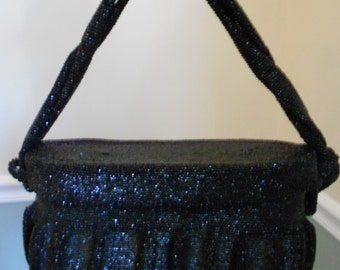 Black Beaded Bag  SALE