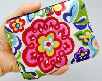 Colorful flowers - Zipper pouch / coin purse / card bag (padded)  (ZS-68)
