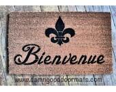 Bienvenue French Welcome FLUER DE LIS door mat
