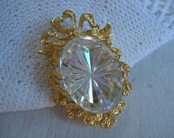 Vintage Etched Czech Faceted Crystal Starburst Glass Gold Pin Brooch Pendant