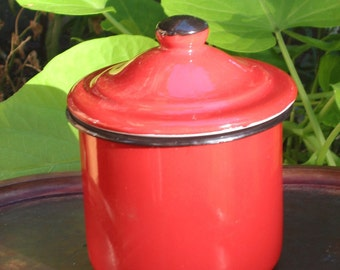 Red Enamel Jam or Mustard Pot, metal condiment dish w lid, steel Poland