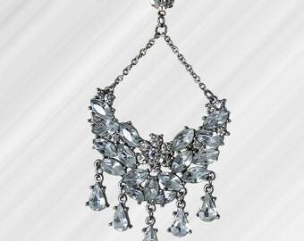 Huge Crystal Rhinestone Earrings Wedding Holiday Jewelry // Vintage 90s // Over 40 Prong Set Stones on Each Earring