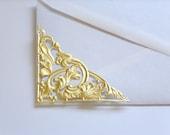 Gold Foil TRIANGLE FILIGREE CORNER embossed Paper Dresdem Victorian Scrap Art Decoupage Mixed Media