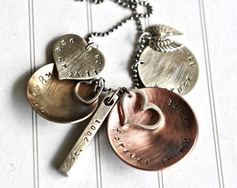 Family Personalized Necklace Hand Stamped Names Necklace Dates Mixed Metal Jewelry