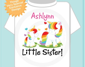 Personalized Little Sister Unicorn Shirt or Onesie with name and date with Two Unicorns (09272013a1)