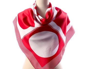 RED and WHITE Printed Scarf . Retro Mad Men Neck Scarf Geometrical Rings Print Kerchief Muffler Bright Colorblock Womens Gift