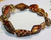 Beaded Leather Cord Bracelet Acrylic Beads Animal Print Pave Beads Wire Wrapped Button Clasp For Her Brown Gold Size 9