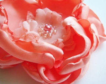 Peach Beaded Flower for Brooch or Hair Clip