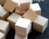 1 inch Wooden Cubes / Blocks (Lot of 50) Unfinished Wood Pieces