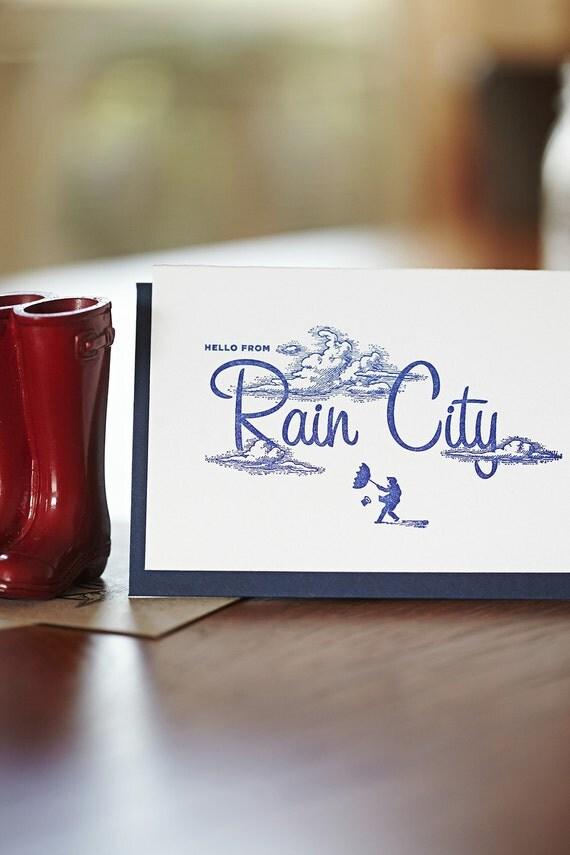 Hello from Rain City - 4bar letterpress card