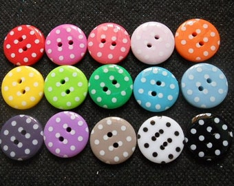 30 pcs - Cute Retro Polka Dot Button 2 hole - size 15 mm - assorted color