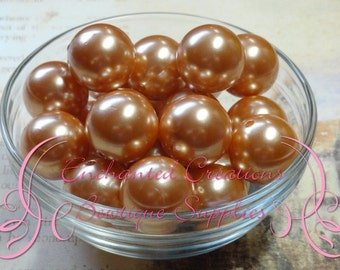 20mm Golden Tan Acrylic Pearl Beads Qty 10