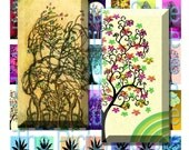 35 Tree Pictures Digital Collage Sheet Instant Download 1 x 2 inches