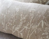 hand printed taupe thistle and wild flower seed head meadow cushion cover