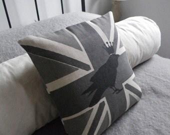 hand printed greys  royal raven union jack pillow cover