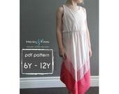 Chevron Dress pattern and tutorial PDF 6y-12y easy sew long tank dress tunic