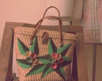 embroidered basket bag