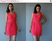 60s dress / 1960s party dress / 60s cocktail dress / hot pink party dress / wool crepe party dress - size small