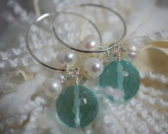 dynamic aqua glass beads with fresh water white pearls sterling silver hoop earrings. wire wrapped, light blue, sterling silver earrings.