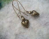 Milagros Earrings, Bronze Hearts