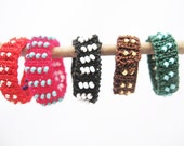 made to order: Reversible knitted ring with colorful beads