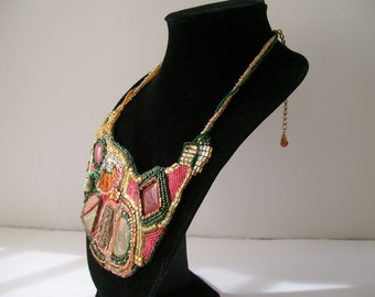 Athena- Statement Necklace Bib Necklace Bead Embroidery