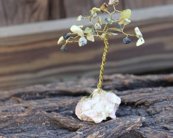 Yellow Tuquoise and Brass Wire Tree Sculpture