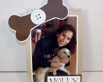 Dog Picture Frame - Holds 5x7 or 4x6 Photo - Personalized - Any Colors - Horizontally or Vertically Set
