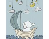 Elephant Nursery Art -- Elephant Dream Sail -- Nursery Decor -- Elephant Art Print -- Children Art Print, Kids Wall Art