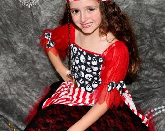 Custom Boutique Red Pirate skull tutu costume 8 halloween costume