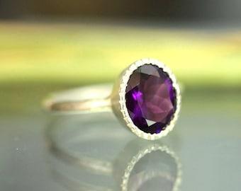 African Deep Purple Amethyst Sterling Silver Ring / Gemstone Ring / Milgrain Detials In No Nickel / Nickel Free - Made To Order