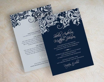 View Navy Wedding Invitations by appleberryink on Etsy