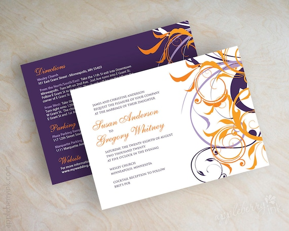 Purple And Orange Wedding Invitations could be nice ideas for your invitation template