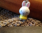 Shy Bunny Bell Charm for Cell Phone, Zipper or Keychain