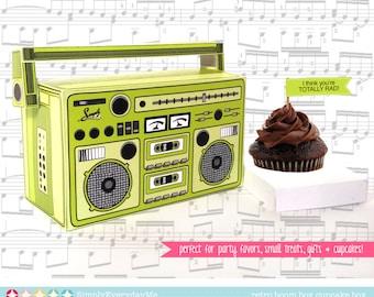 Boom Box - GREEN, cupcake box, party favor box, 40th Birthday, 30th Birthday   Instant Download DIY Printable PDF Kit