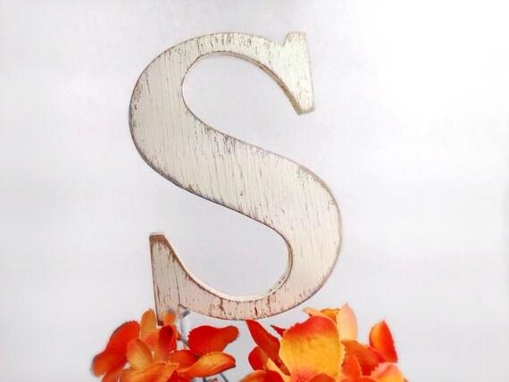 cake topper Letter S shabby beach wedding decor by OldNewAgain