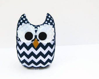 Chevron Plush Owl Navy Blue Baby Toy Minky Softie Mini Pillow