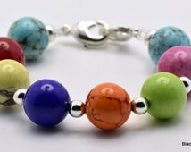 Dyed Howlite Multicolor Stretchy Interchangeable Watch Band - Ex-Small and Medium