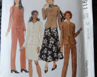 McCalls 8911 Misses unlined Jacket, Pants, Skirts and Scarf in sizes (12-14-16)